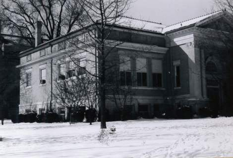 Library front snow black and white